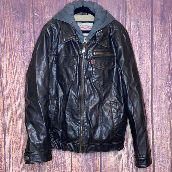 LEVI'S Sherpa sweater lined faux leather jacket SM